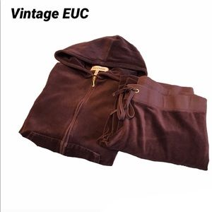 Juicy Couture Vintage Plum Velour Track Suit EUC